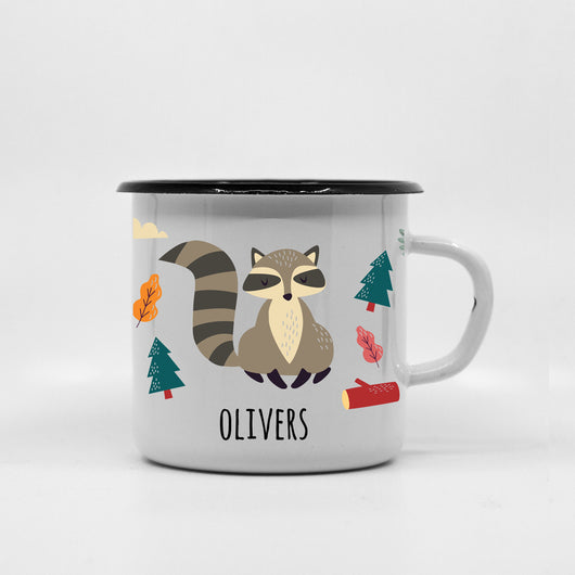 Kids Racoon enamel mug with your name 400ml/13.5oz