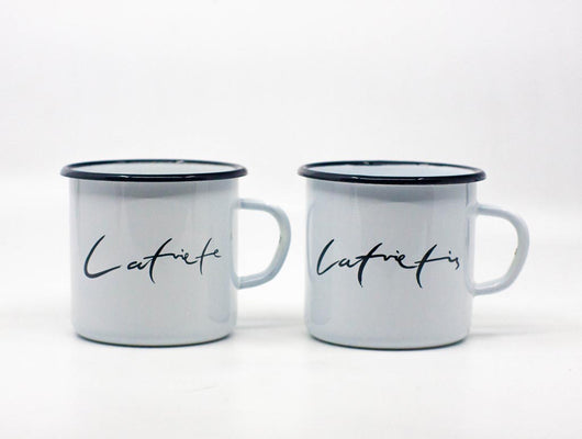 Set of any colour Latviete and Latvietis enamel mugs 400ml/13.5oz