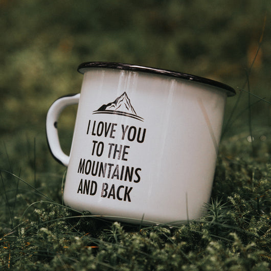 I love you to the mountains and back enamel mug 400ml/13.5oz