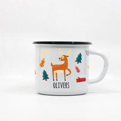 Kids Deer enamel mug with your name 250ml/8.45oz