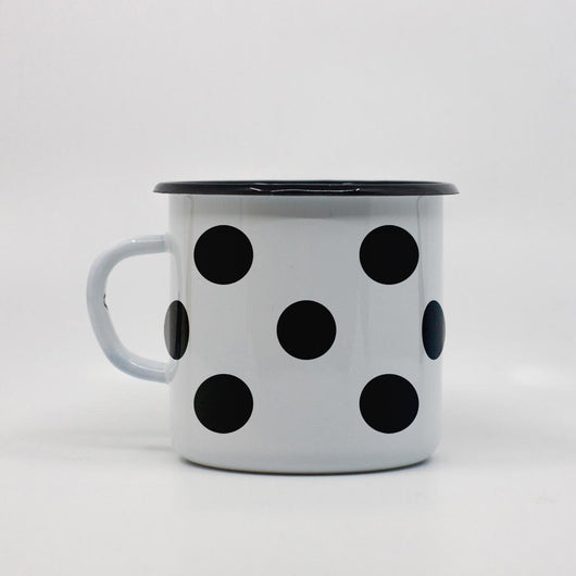 Polka dots enamel mug 400ml/13.5oz