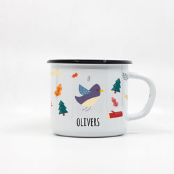 Kids Bird enamel mug with your name 250ml/8.45oz
