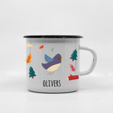 Kids Bird enamel mug with your name 400ml/13.5oz