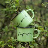 Set of any colour Latviete and Latvietis enamel mugs 250ml/8.45o.z.
