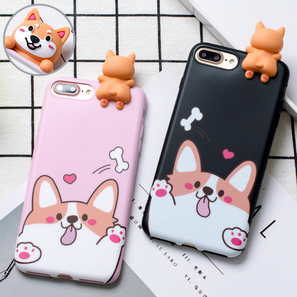 Corgi Soft Phone Cases with 3D Figure