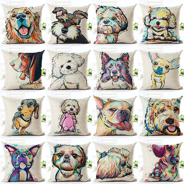 Dog Pattern Decorative Cushion Covers