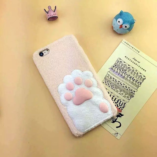 Cute Embroidered Cat Paw Phone Case