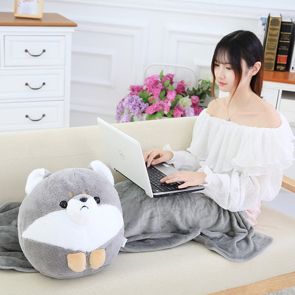 40cm Chubby Dog Doll with Blanket