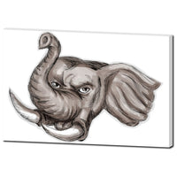Elephant Head Drawing Premium Canvas Gallery Wrap