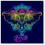 Elephant Over Mandala Premium Canvas Gallery Wrap