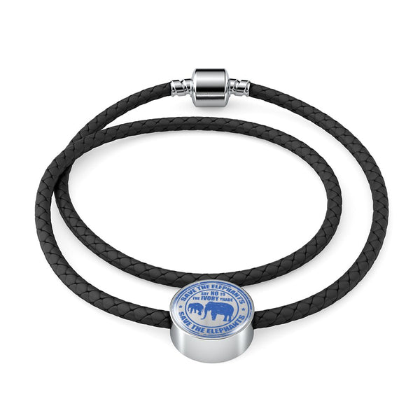 Save the Elephants Double-Braided Bracelet (Real Leather)