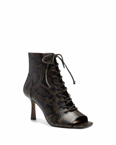 Vince Camuto ESHILLIY DARK BROWN/PEBBLE PRINT SNAKE