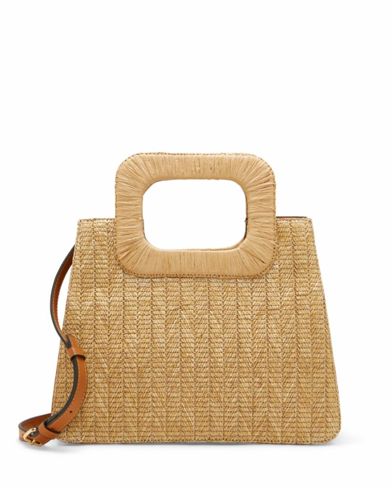Vince Camuto Handbag KENNI SATCHEL NATURAL/STRAW VACHETTA