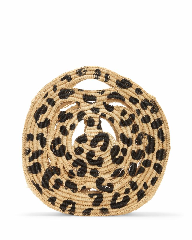 Vince Camuto Handbag RAZO TOPHANDLE LEOPARD/WOVEN STRAW