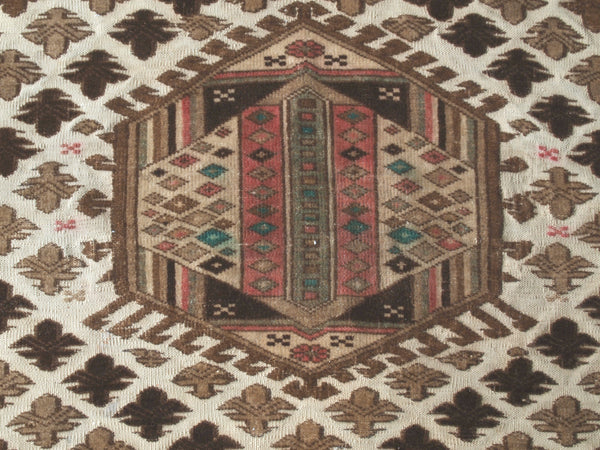 Turkish rug. Area Rug. Vintage from 1950s. Olive, brown and pink.