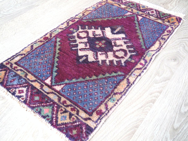 Full view of Vintage Turkish Rug. Ships worldwide.