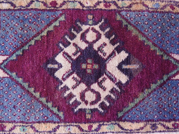 Vintage Turkish Rug. Blue, purple, turquoise, taupe.