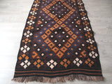 Long view of kilim rug. Modern Vintage. Area Rug.