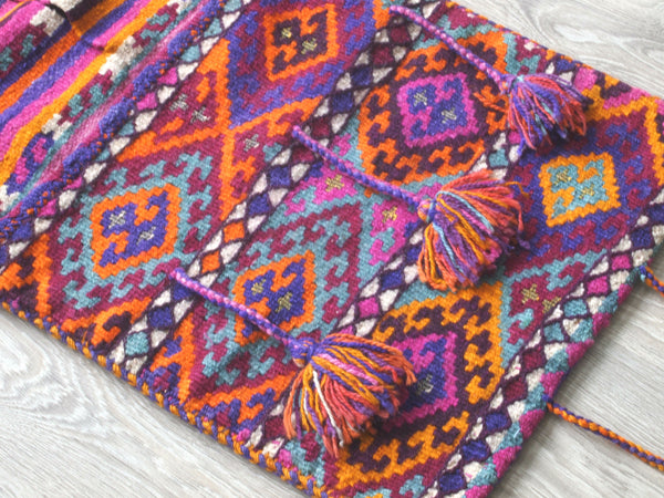 Turkish Rug or saddlebag. Vintage. Boho look.