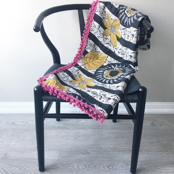 Kit + Loom. Vintage Sari Fabric. Reversible Kantha Quilt.