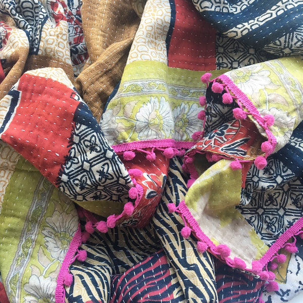 Detail view of Kit + Loom Kantha Quilt no. 4.