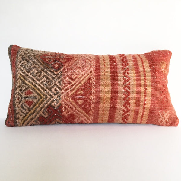 Turkish Kilim Rug Pillow no. 29 - Lumbar (19 x 20)