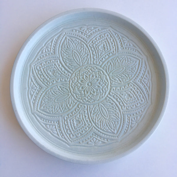 Handmade concrete dish. Pistachio coloured. Stamped Boho Pattern.