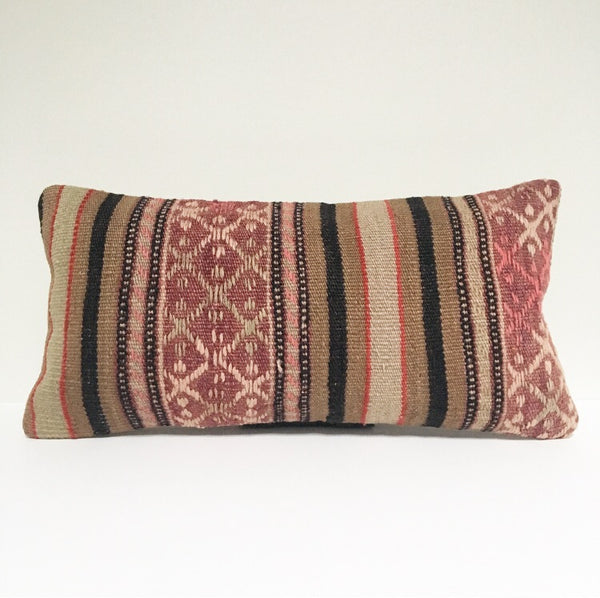 Vintage Turkish Rug Pillow no. 50  |  10 x 20 Lumbar |  Kilim Rug Pillow  |  Blush