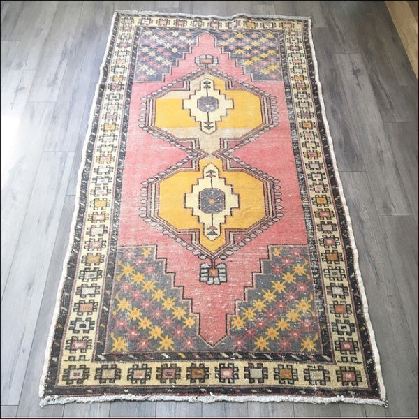 "Vintage Turkish Rug - 7'8"" x 4'1"" (Faded Pink Oushak)"