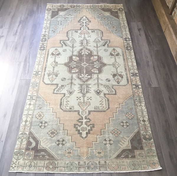 8.4 x 4.0 - Vintage Turkish Rug  |  Faded Blush Oushak  |  Muted Turkish Rug