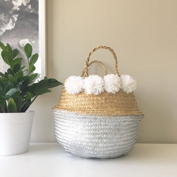 Seagrass baskets - silver dipped with pom poms. Kit + Loom.