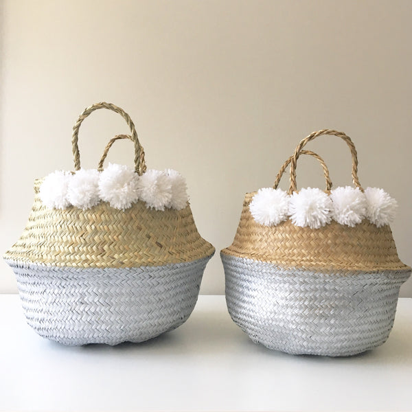 Small and Medium seagrass baskets - silver dipped. Handmade. Vietnamese.