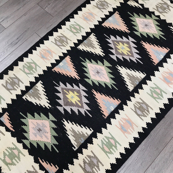 "Vintage Turkish Kilim Rug - 4'5"" x 2'5"""