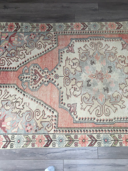 7.1 x 4.0 - Vintage Turkish Rug  |  Faded Pink Rug  |  Blush Oushak