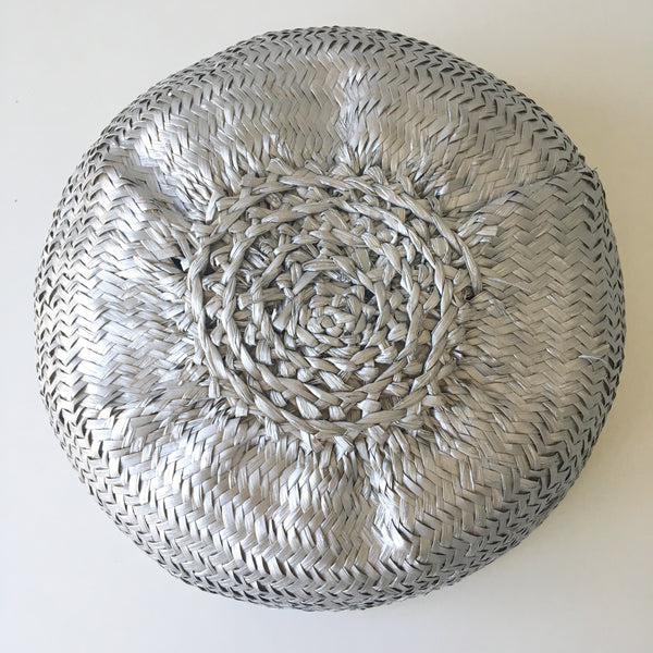 View of bottom of seagrass baskets - silver dipped.