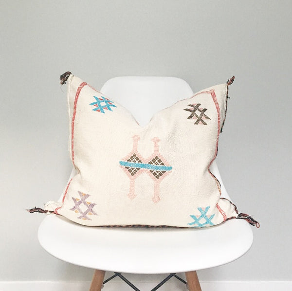 Moroccan Sabra Silk Pillow no. 16 | White | Cactus Silk | 20 x 20