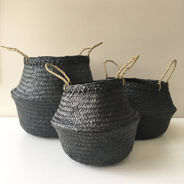 Seagrass belly baskets from Kit + Loom. 3 sizes: small, medium, large. Noir.