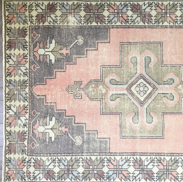 8.7 x 4.2 - Vintage Turkish Rug  |  Faded Pink Turkish Oushak  |  Pink and Brown Rug