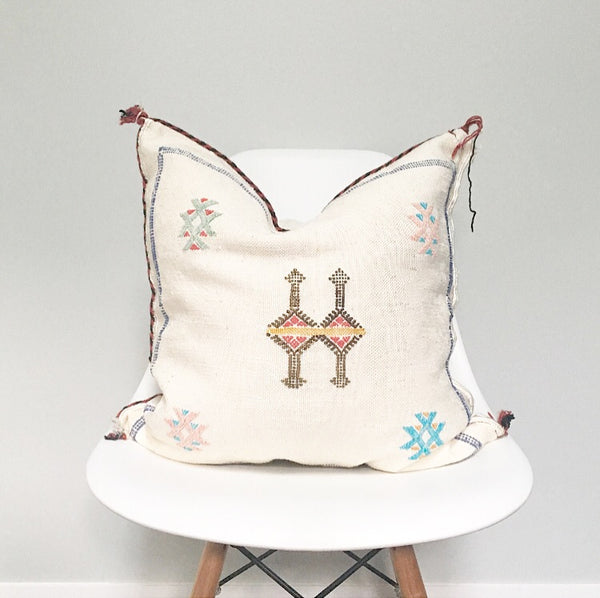 Moroccan Sabra Silk Pillow no. 15 | White | Cactus Silk | 20 x 20