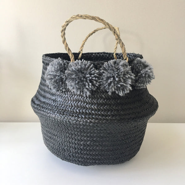 Seagrass Belly baskets - noir. Kit + Loom. Handmade. Pom poms.