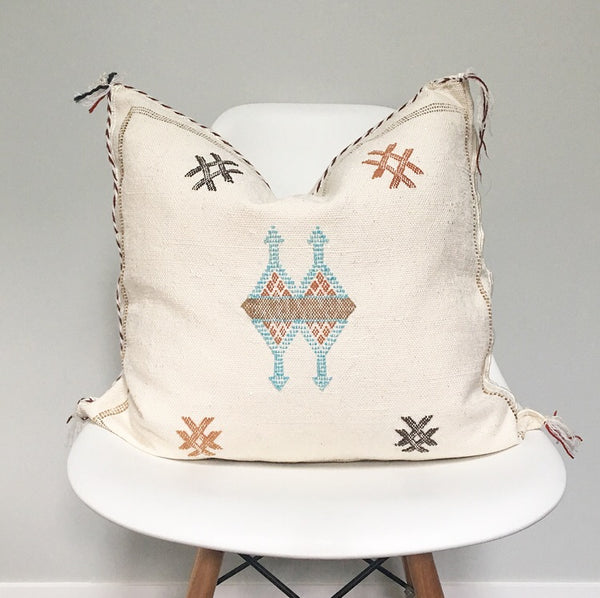 Moroccan Sabra Silk Pillow no. 13 | White | Cactus Silk | 20 x 20