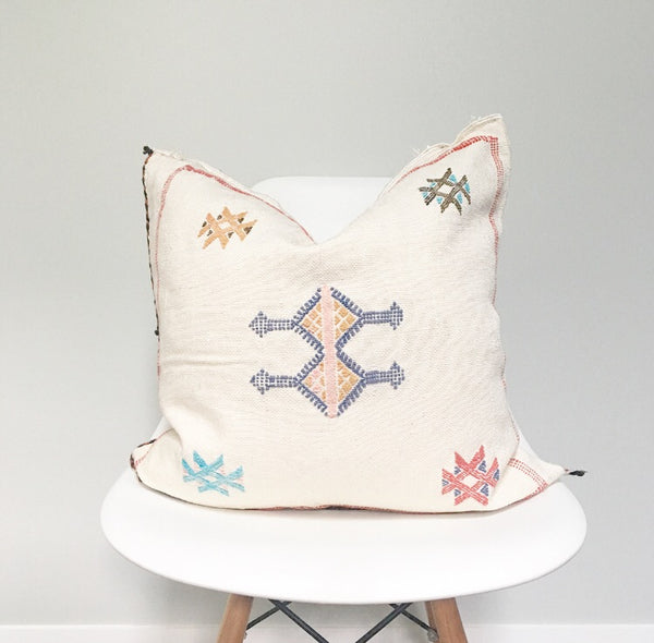 Moroccan Sabra Silk Pillow no. 14 | White | Cactus silk | 20x 20