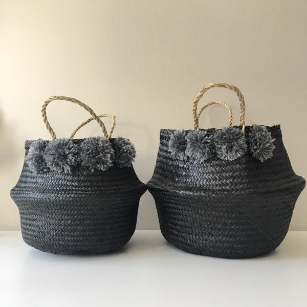 Seagrass baskets - noir.  Handmade. Pom poms. Belly Baskets.