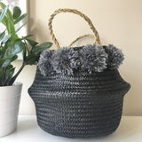 Belly Basket.  100% natural handwoven basket. Kit + Loom.