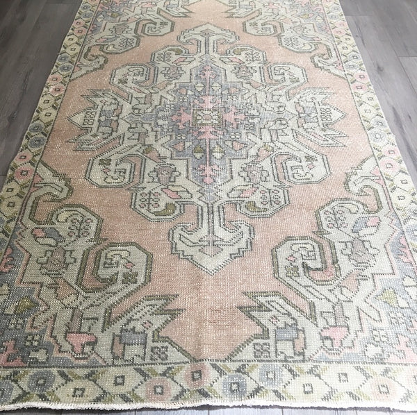 6.7 x 4.1 - Vintage Turkish Rug  |  Faded Blush Rug  |  Turkish Oushak