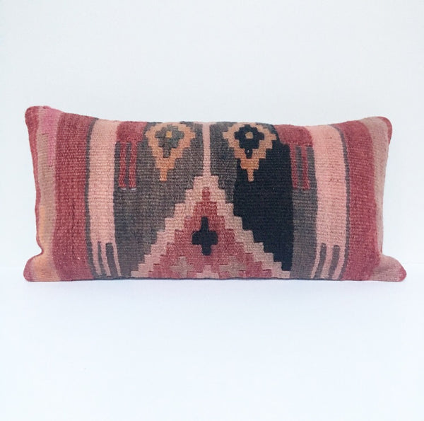 Vintage Turkish Rug Pillow no. 52  |  10 x 20 Lumbar  |  Turkish Kilim Pillow  |  Kilim Rug