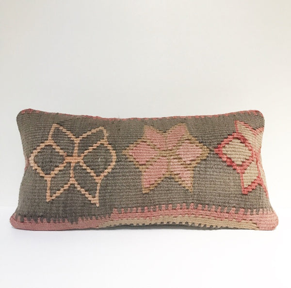 Vintage Turkish Rug Pillow no. 30 |  10 x 20 Lumbar  |  Floral  | Pink Kilim Rug Pillow