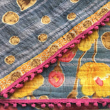 Blue, Yellow, Pink Indian Kantha Quilt with Pink Pom Fringe