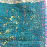 Back of Indian Kantha Quilt no. 1 with Green floral theme