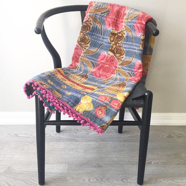 Kit + Loom Indian Kantha Quilt. Vintage Sari Fabric.